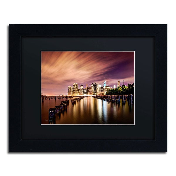 David Ayash 'Brooklyn Bridge Park and Financial District - V' Black Matte, Black Framed Wall Art