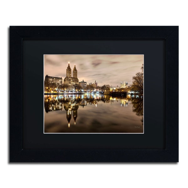 David Ayash 'Central Park West I' Black Matte, Black Framed Wall Art