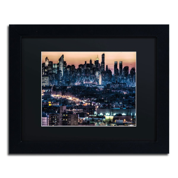 David Ayash 'Midtown and The Queensborough Bridge' Black Matte, Black Framed Wall Art