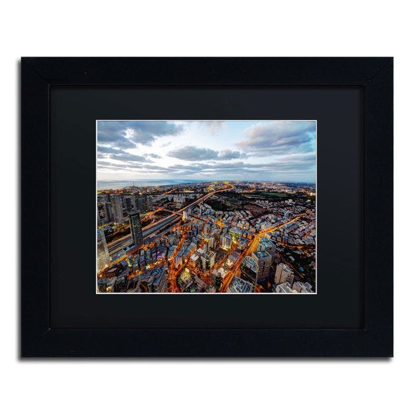 David Ayash 'Tel Aviv - Israel-III' Black Matte, Black Framed Wall Art
