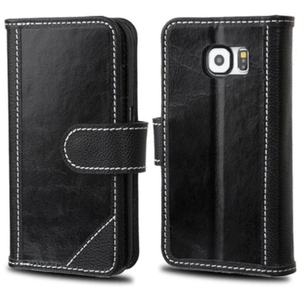 Insten Leather Fabric Phone Wallet Flap Pouch Case Cover with Stand/ Photo Display For Samsung Galaxy S6 Edge