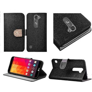 Insten Leather Fabric Glitter Phone Case Cover with Stand/ Diamond For LG Volt 2