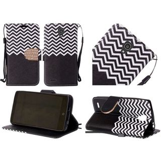 Insten Diamond Design Pattern Leather Fabric Phone Case Cover with Lanyard/ Stand For Alcatel One Touch Conquest