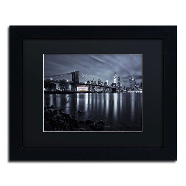 David Ayash 'Jane's Carousel, Brooklyn Bridge' Black Matte, Black Framed Wall Art