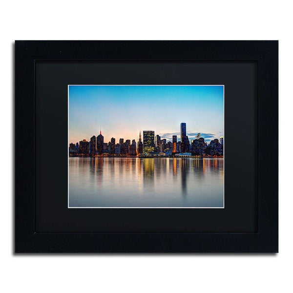 David Ayash 'Midtown NYC Over the East River-I' Black Matte, Black Framed Wall Art
