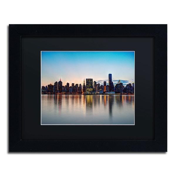 David Ayash 'Midtown NYC Over the East River-I' Black Matte, Black Framed Wall Art