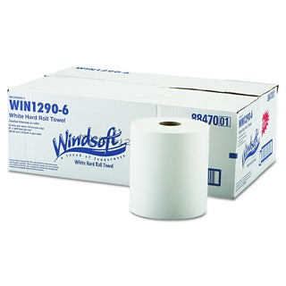 Windsoft Nonperforated White Roll Towels (Pack of 6)