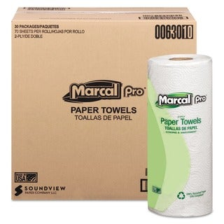 Marcal 100 Percent Premium Recycled White Towels (30 Rolls of 70 Sheets)
