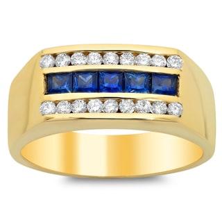14k Yellow Gold 1/2ct TDW Diamond and Sapphire Ring (F-G, VS1-VS2)