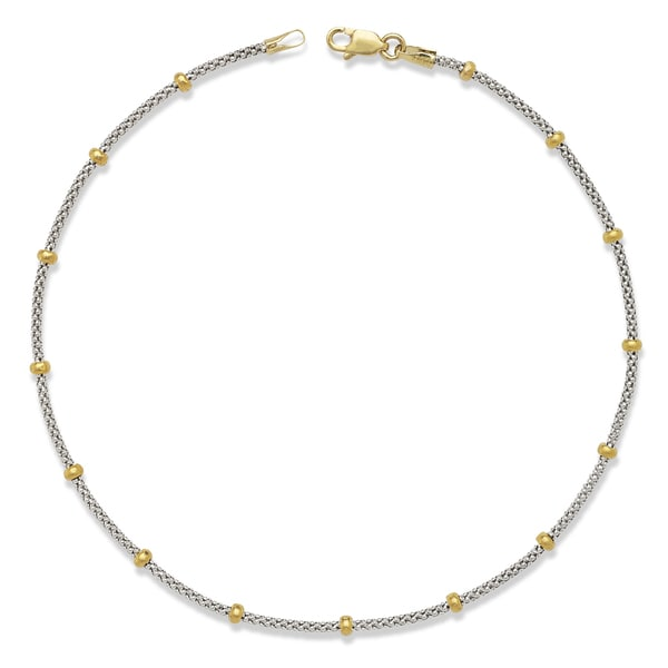 14k Two-tone Gold Saturn Bead 10-Inch Anklet