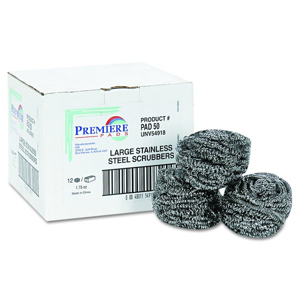 Premiere Pads Steel Gray Stainless Steel Scrubber (Pack of 12)
