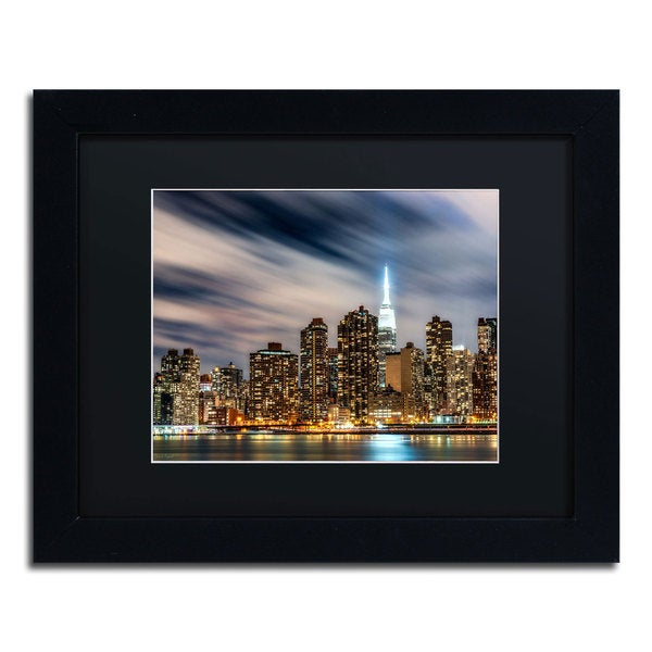 David Ayash 'Midtown Over the East River-V' Black Matte, Black Framed Wall Art