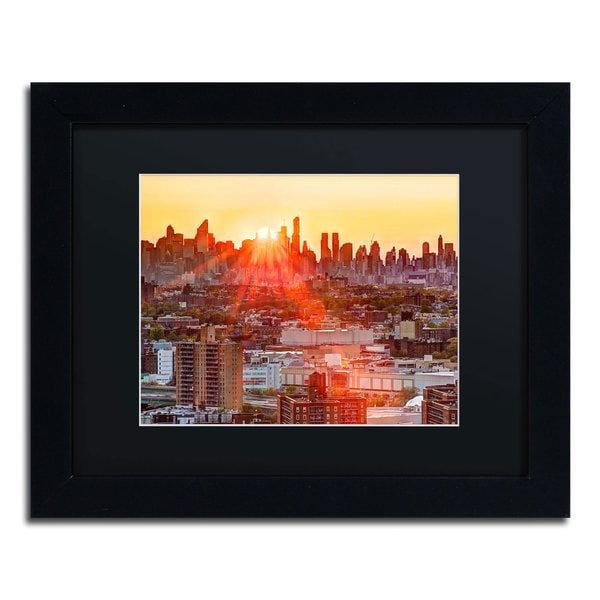 David Ayash 'Midtown Sunset' Black Matte, Black Framed Wall Art