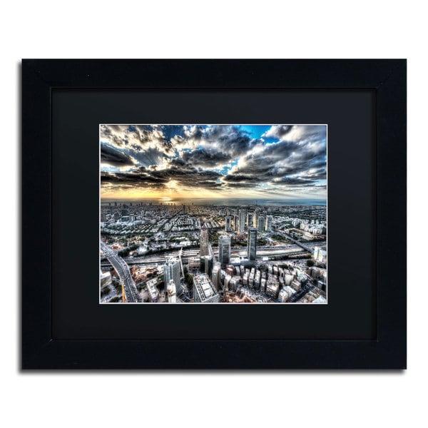 David Ayash 'Tel Aviv - Israel-I' Black Matte, Black Framed Wall Art