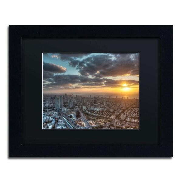 David Ayash 'Tel Aviv - Israel-II' Black Matte, Black Framed Wall Art
