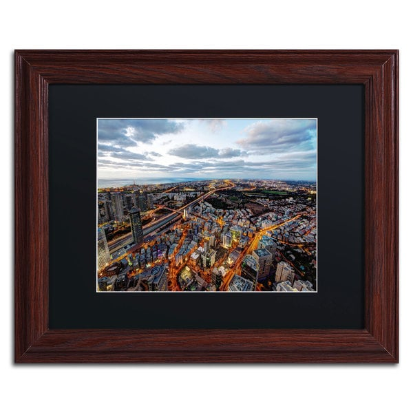 David Ayash 'Tel Aviv - Israel-III' Black Matte, Wood Framed Wall Art