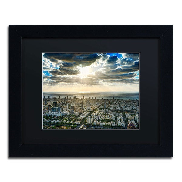 David Ayash 'Tel Aviv - Israel-IV' Black Matte, Black Framed Wall Art
