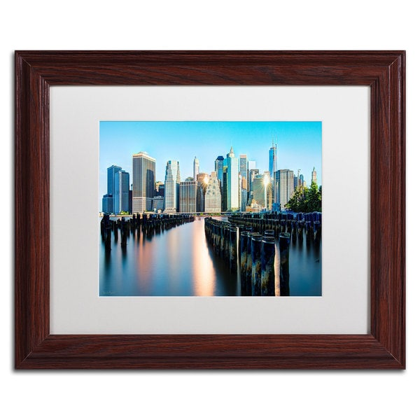 David Ayash 'Brooklyn Bridge Park and Financial District - II' White Matte, Wood Framed Wall Art