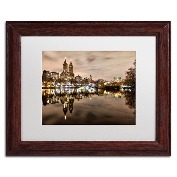 David Ayash 'Central Park West I' White Matte, Wood Framed Wall Art
