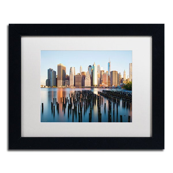 David Ayash 'Brooklyn Bridge Park and Financial District - I White Matte, Black Framed Wall Art
