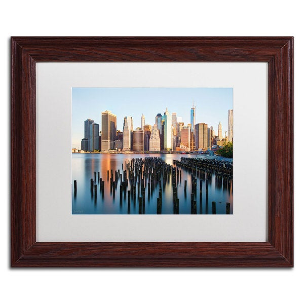 David Ayash 'Brooklyn Bridge Park and Financial District - I White Matte, Wood Framed Wall Art