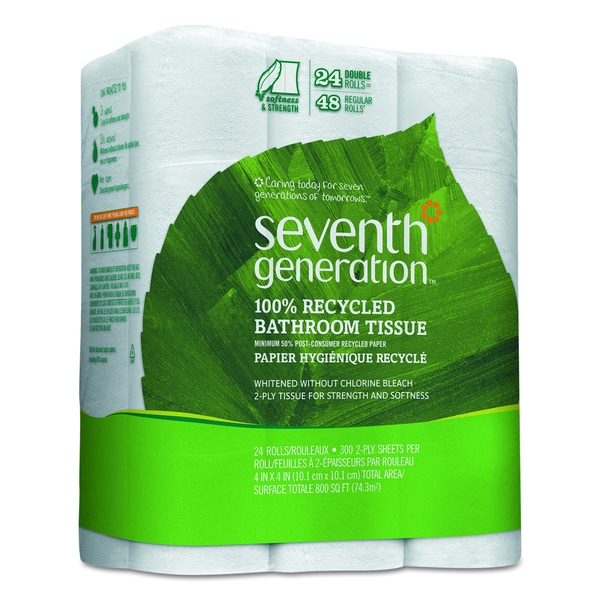 Seventh Generation 100-Percent Recycled 2-Ply White Bathroom Tissue (Pack of 24)