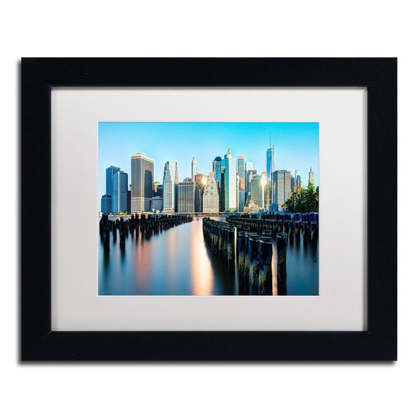 David Ayash 'Brooklyn Bridge Park and Financial District - II' White Matte, Black Framed Wall Art