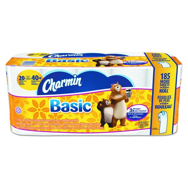 Charmin White 1-Ply Basic Big Roll (Pack of 20)