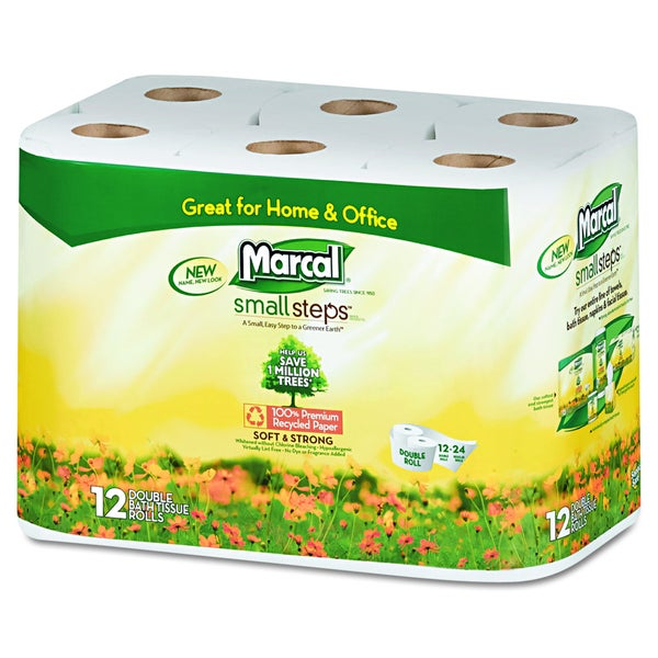 Marcal 100-Percent Recycled White Double Roll Bathroom Tissue (Pack of 12)
