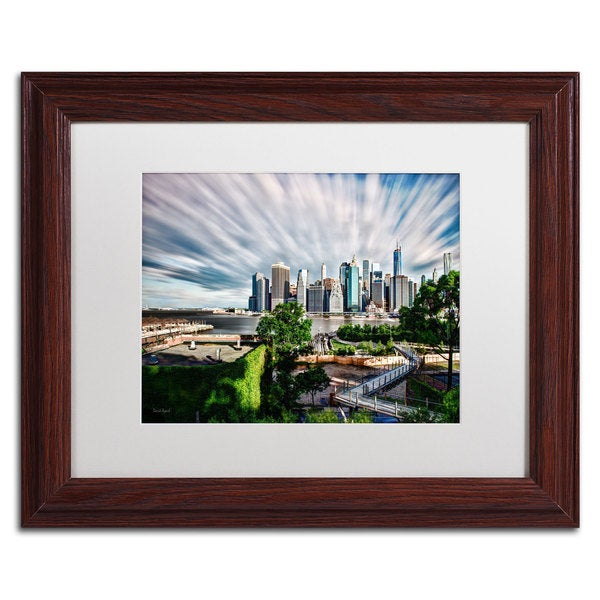 David Ayash 'Brooklyn Bridge Park and Financial District - III' White Matte, Wood Framed Wall Art