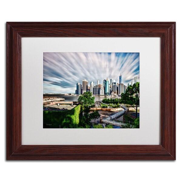 David Ayash 'Brooklyn Bridge Park and Financial District - III' White Matte, Wood Framed Wall Art