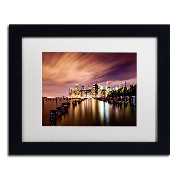 David Ayash 'Brooklyn Bridge Park and Financial District - V' White Matte, Black Framed Wall Art