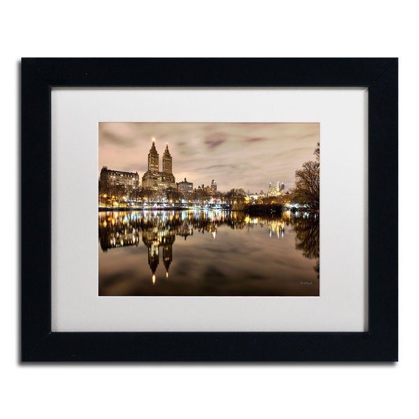 David Ayash 'Central Park West I' White Matte, Black Framed Wall Art