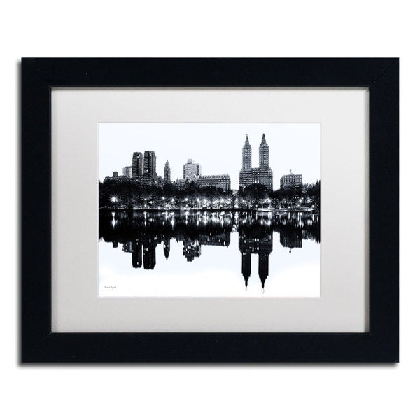 David Ayash 'Central Park West II' White Matte, Black Framed Wall Art