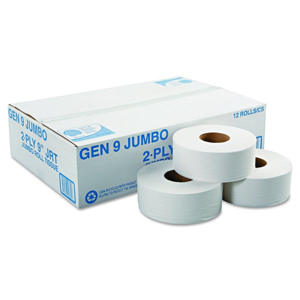 General Supply Jumbo Roll 2-Ply White Bath Tissue (Pack of 12)