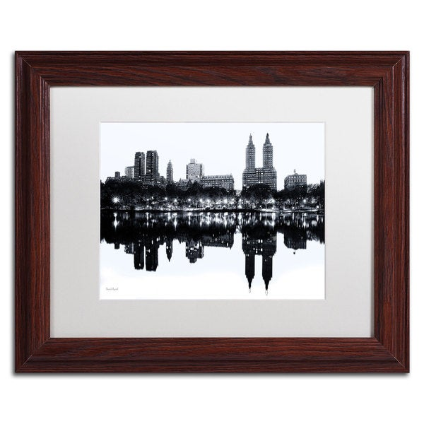 David Ayash 'Central Park West II' White Matte, Wood Framed Wall Art