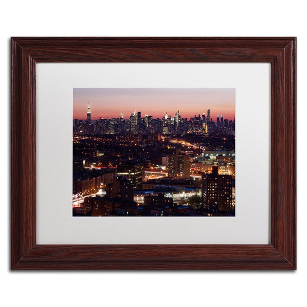 David Ayash 'Midtown From Queens' White Matte, Wood Framed Wall Art
