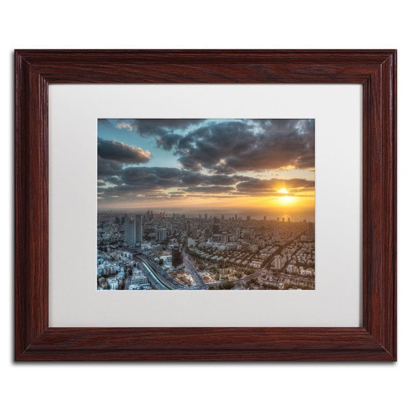 David Ayash 'Tel Aviv - Israel-II' White Matte, Wood Framed Wall Art