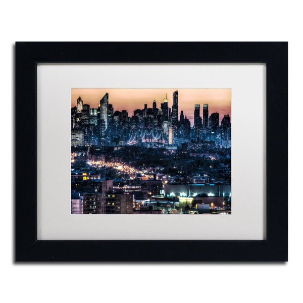 David Ayash 'Midtown and The Queensborough Bridge' White Matte, Black Framed Wall Art