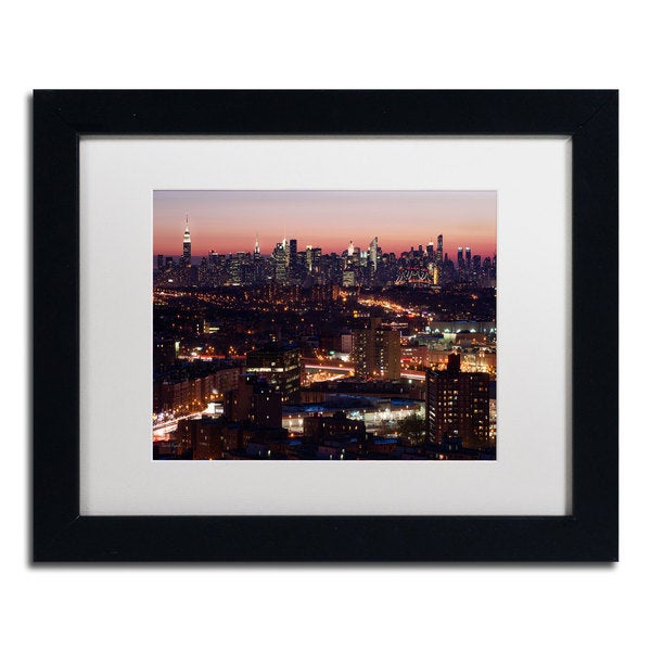 David Ayash 'Midtown From Queens' White Matte, Black Framed Wall Art