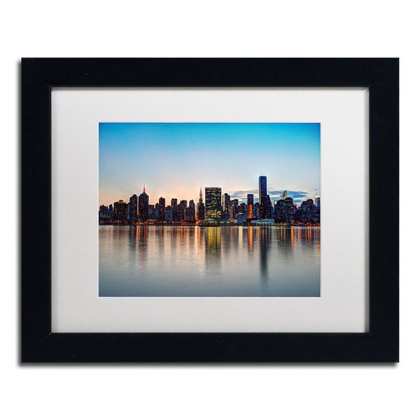 David Ayash 'Midtown NYC Over the East River-I' White Matte, Black Framed Wall Art