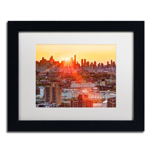 David Ayash 'Midtown Sunset' White Matte, Black Framed Wall Art