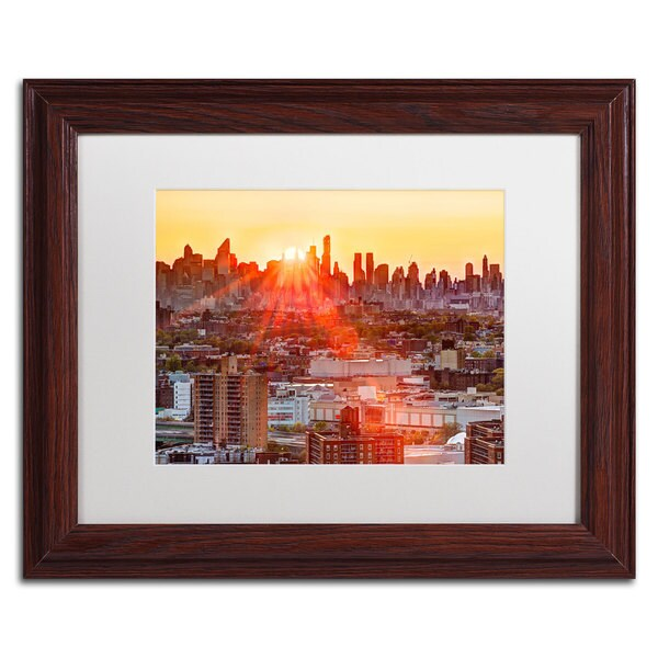 David Ayash 'Midtown Sunset' White Matte, Wood Framed Wall Art