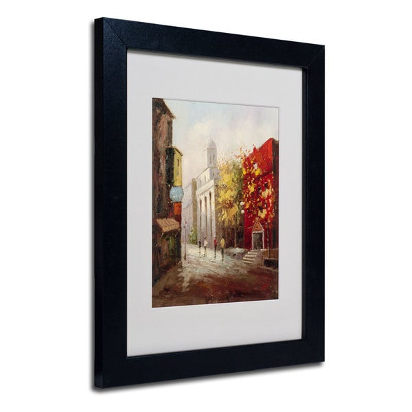Rio 'Sunday Morning in Bari Italy' White Matte, Black Framed Wall Art
