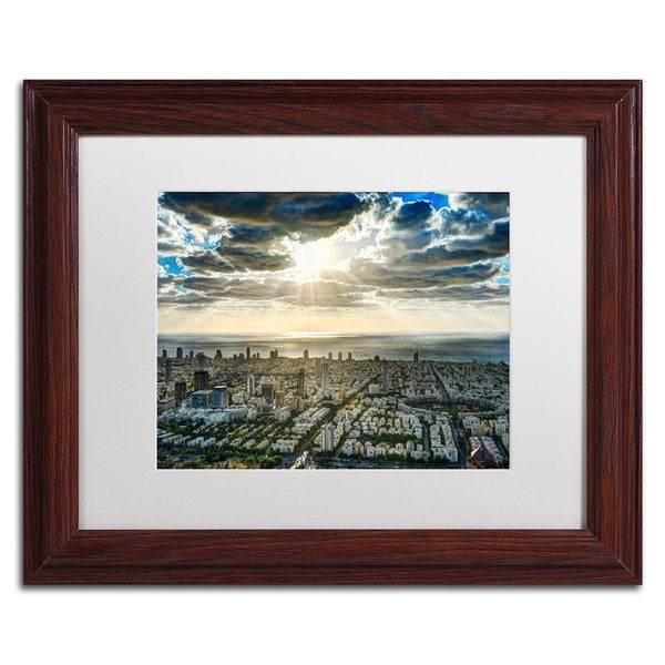 David Ayash 'Tel Aviv - Israel-IV' White Matte, Wood Framed Wall Art