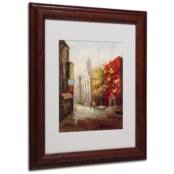 Rio 'Sunday Morning in Bari Italy' White Matte, Wood Framed Wall Art