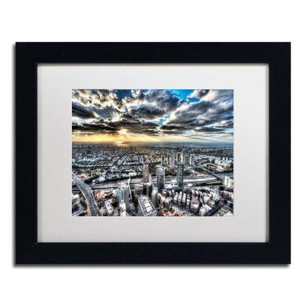 David Ayash 'Tel Aviv - Israel-I' White Matte, Black Framed Wall Art