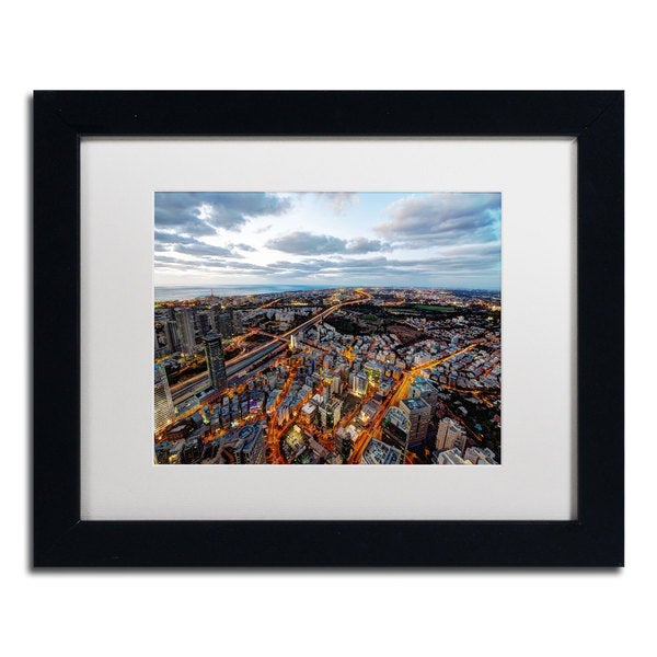 David Ayash 'Tel Aviv - Israel-III' White Matte, Black Framed Wall Art