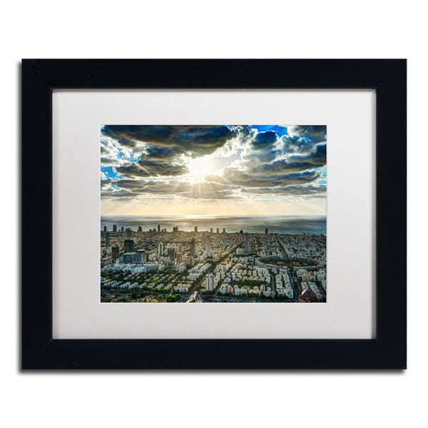 David Ayash 'Tel Aviv - Israel-IV' White Matte, Black Framed Wall Art