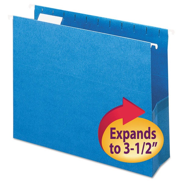 "Smead 3"" Capacity Closed Side Flexible Sky Blue Hanging File Pockets (Box of 25)"
